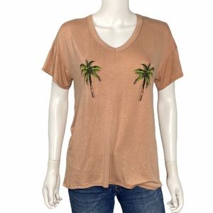 Sweet Claire NEW Tan Palm Tree T Shirt Size L
